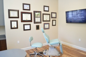 New Patient Consult Room: Exam Chair & Dr. McIver's Diplomas